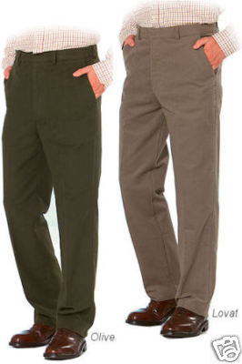 MENS TOP QUALITY OLIVE LOVAT MOLESKIN SHOOTING TROUSERS