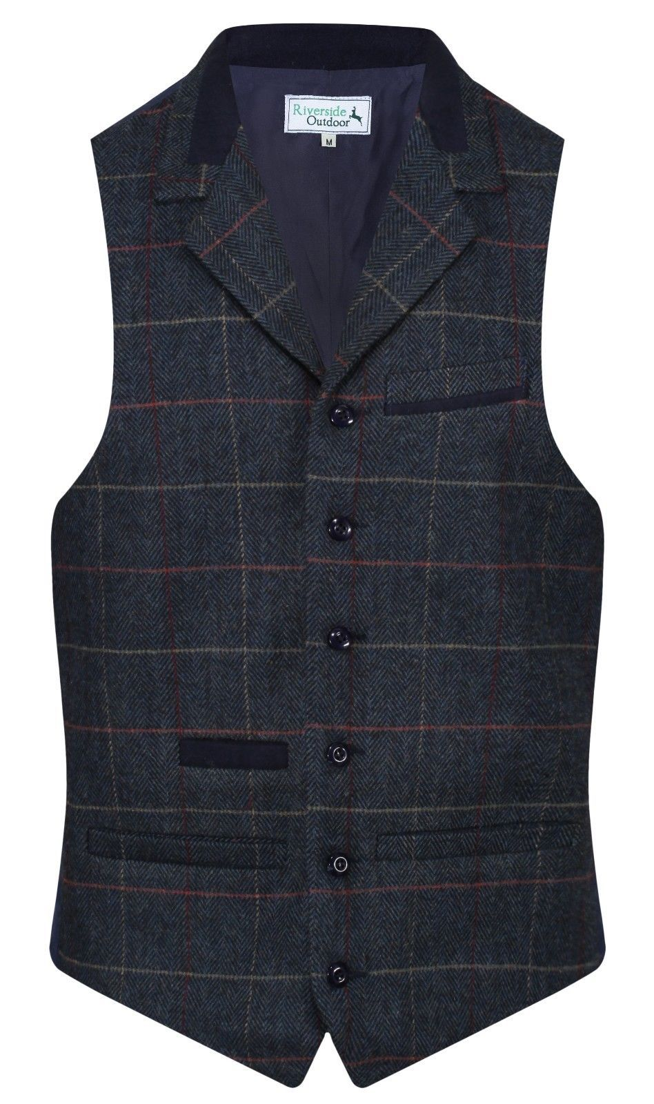 MENS WOOL Balmoral Quality TWEED Check Waistcoat With Collar Royal Navy Blue New
