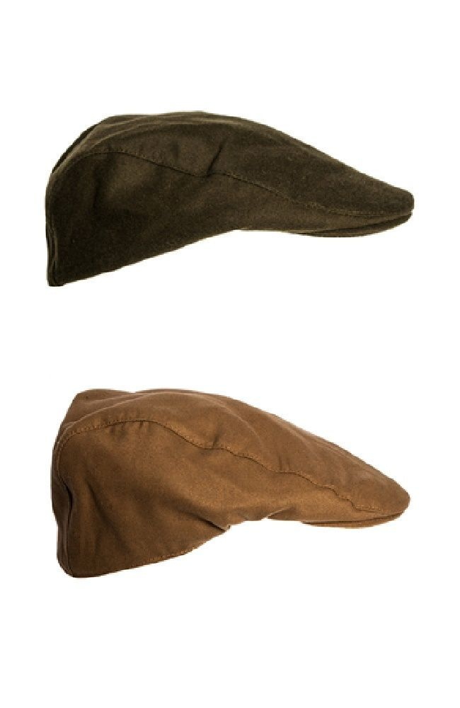 Waterproof Moleskin Flat Cap Traditional Country Hat Olive Lovat Washable New